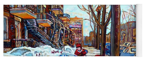 Canadian Art Street Hockey Game Verdun Montreal Memories Winter City Scene Paintings Carole Spandau Yoga Mat
