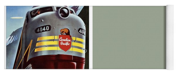 Canadian Pacific - Railroad Engine, Mountains - Retro Travel Poster - Vintage Poster Yoga Mat