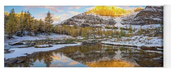 Canadian Rockies Fall Splendor Reflection Yoga Mat