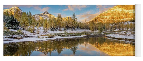 Canadian Rockies Golden Autumn Serenity Yoga Mat