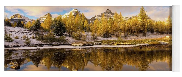 Canadian Rockies Golden Larches And Towering Peaks Yoga Mat