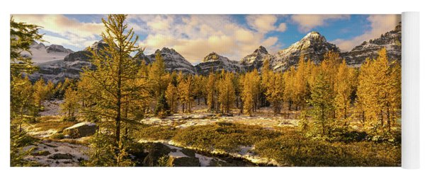 Canadian Rockies Golden Larches In Larch Valley Yoga Mat