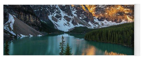 Canadian Rockies Golden Sunrise Light Reflection Yoga Mat