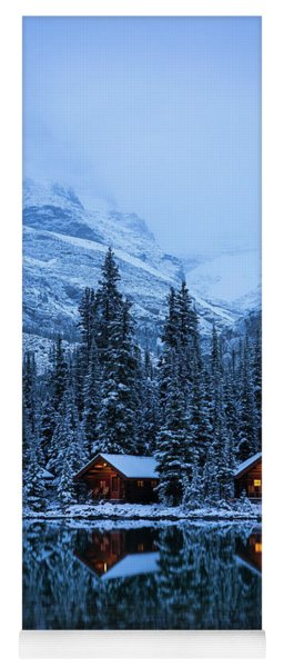 Canadian Rockies Winter Lodges Snow Reflection Yoga Mat