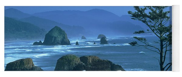 Cannon Beach And Haystack Rock Ecola State Beach Oregon Yoga Mat