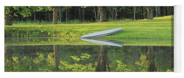 Canoe At Ponds Edge Yoga Mat