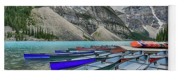 Canoes On Moraine Lake  Yoga Mat