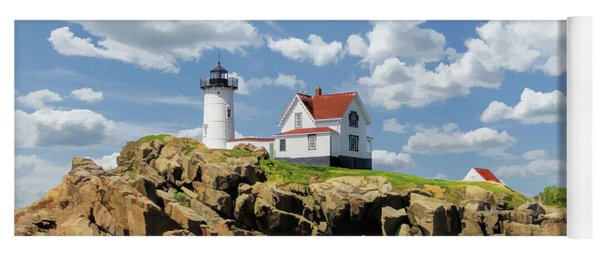 Yoga Mat featuring the painting Cape Neddick Lighthouse by Christopher Arndt