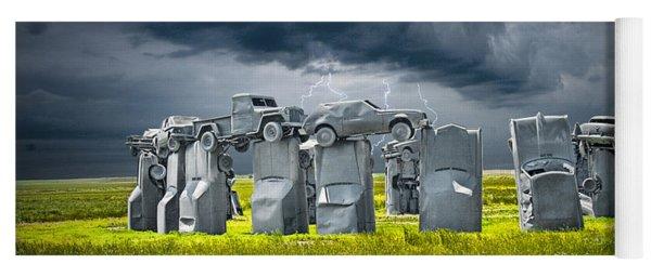 Car Henge In Alliance Nebraska After England's Stonehenge Yoga Mat