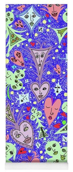 Card Game Symbols Cartoon In Blue Yoga Mat
