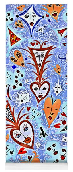 Card Game Symbols With Faces In Blue Yoga Mat