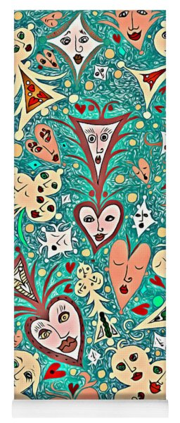 Card Game Symbols With Faces In Green Yoga Mat