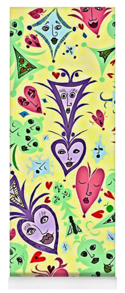 Yoga Mat featuring the digital art Card Game Symbols With Faces In Yellow by Lise Winne
