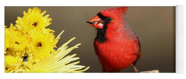 Cardinal And Chrysanthemums Yoga Mat