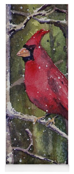 Yoga Mat featuring the painting Cardinal by Sam Sidders