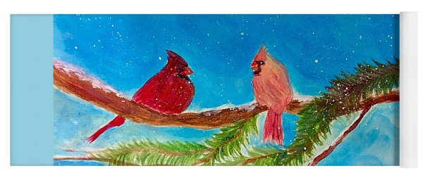 Cardinals In Winter Yoga Mat