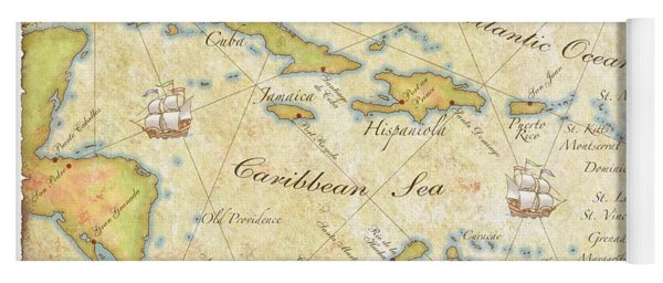 Caribbean Map - Good Yoga Mat