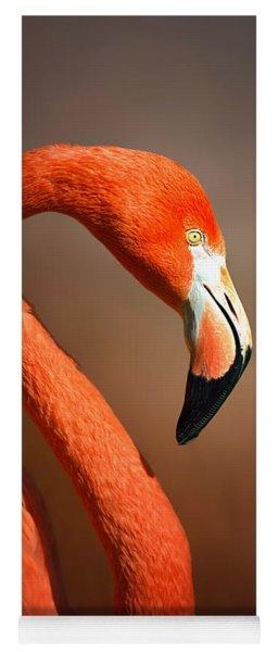 Caribean Flamingo Portrait Yoga Mat