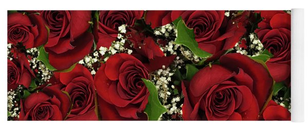 Carmine Roses Yoga Mat