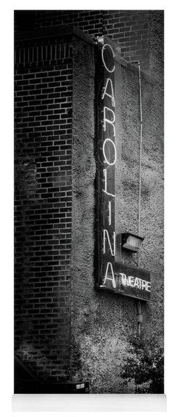 Carolina Theatre Neon In Black And White Yoga Mat