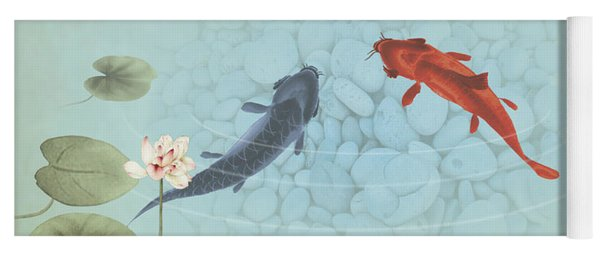 Carp In Lily Pond Yoga Mat