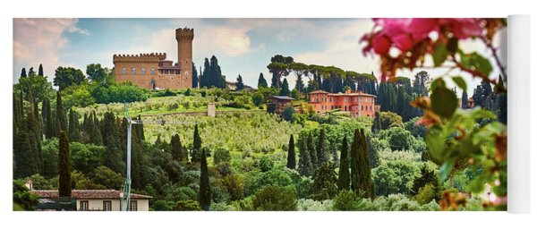 Roses And Castle On Green Tuscan Landscape In Florence, Italy Yoga Mat