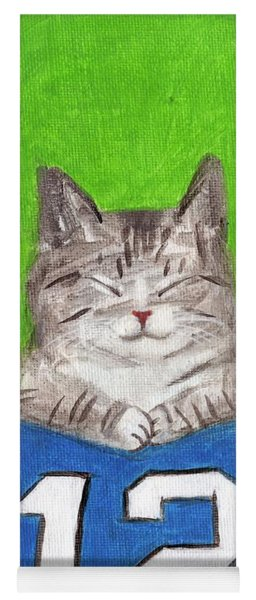 Cat With 12th Flag Yoga Mat