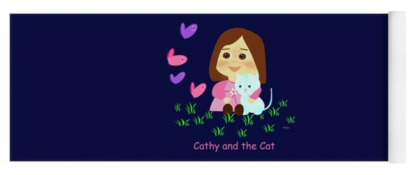 Cathy And The Cat With Butterflies  Yoga Mat