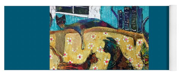 Yoga Mat featuring the painting Cats Hangin' Out  by Claire Bull