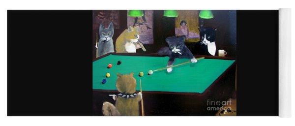 Cats Playing Pool Yoga Mat