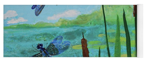 Cattails And Dragonflies Yoga Mat