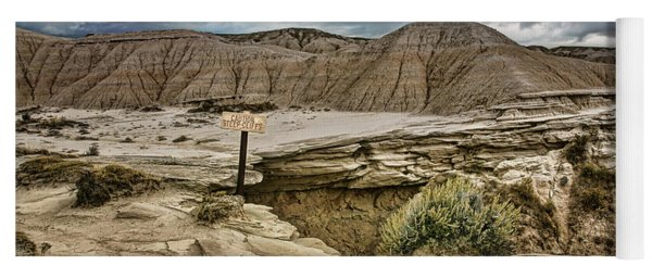 Caution - Steep Cliffs - Toadstool Geologic Park Yoga Mat