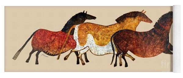 Cave Horses In Beige Yoga Mat