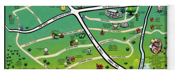 Cedar Park Texas Cartoon Map Yoga Mat