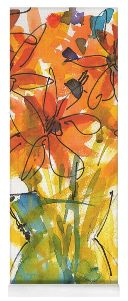Celebration Of Sunflowers Watercolor Painting By Kmcelwaine Yoga Mat