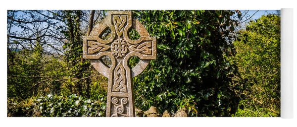 Celtic Knots Decorate A Celtic Cross Yoga Mat