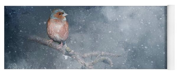 Chaffinch On A Cold Winter Day Yoga Mat
