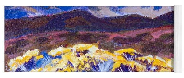 Chamisa And Mountains Of Santa Fe Yoga Mat