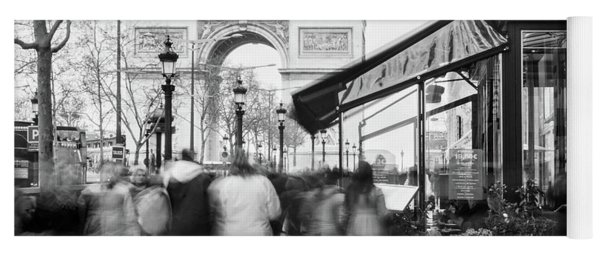 Yoga Mat featuring the photograph Champs Elysees And Arc Triomphe - Paris by Barry O Carroll