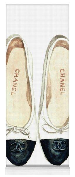Chanel Ballet Flats Classic Watercolor Fashion Illustration Coco Quotes Vintage Paris Black White Yoga Mat