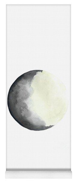 Charcoal And Cream Waxing Gibbous Moon Watercolor Yoga Mat