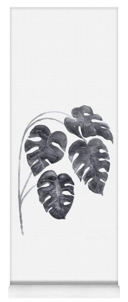 Charcoal Monstera Leaves Watercolor Yoga Mat
