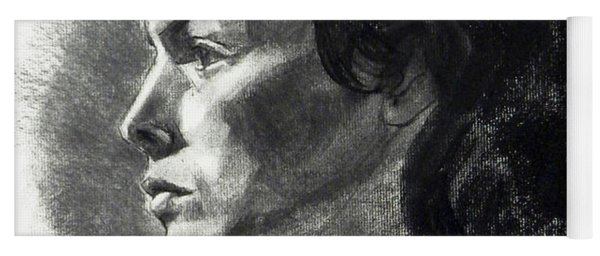Charcoal Portrait Of A Pensive Young Woman In Profile Yoga Mat
