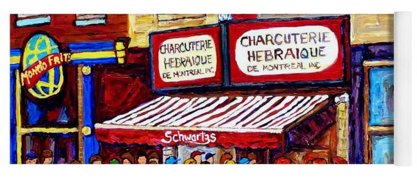 Charcuterie Hebraique Schwartz Line Up Waiting For Smoked Meat Montreal Paintings Carole Spandau     Yoga Mat
