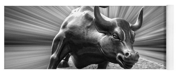 Charging Wall Street Bull B W Yoga Mat