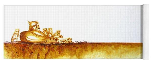 Cheetah Mum And Cubs - Original Artwork Yoga Mat