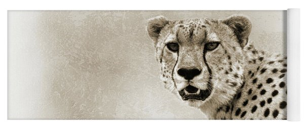 Cheetah Sepia Closeup Square Yoga Mat