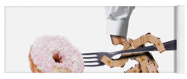 Chef Box Character Attacking A Large Donut Yoga Mat