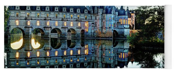 Chenonceau Twilight In Blue - Vintage Version Yoga Mat