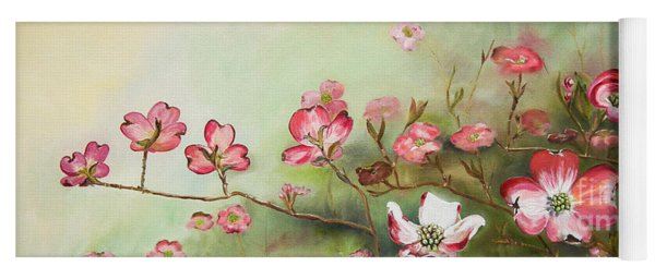 Yoga Mat featuring the painting Cherokee Dogwood - Brave- Blushing by Jan Dappen